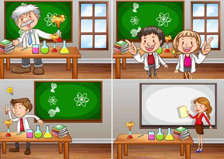 dessin enfants: Les salles de classe avec les enseignants de sciences illustration