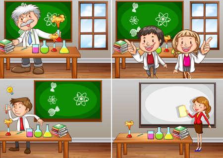 children drawing: Science classrooms with teachers illustration Illustration