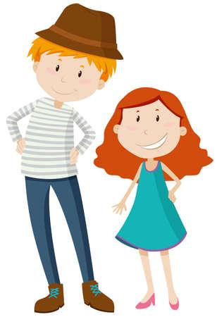Tall man and short girl illustration Vettoriali