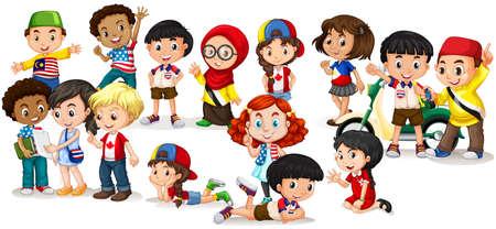 kinderen: Groep van internationale kinderen illustratie