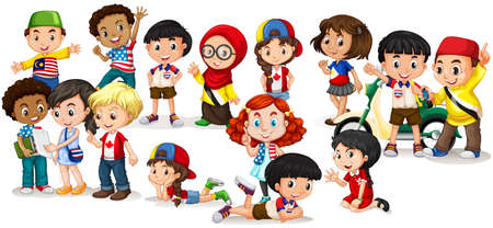 cartoon kids: Group of international children illustration