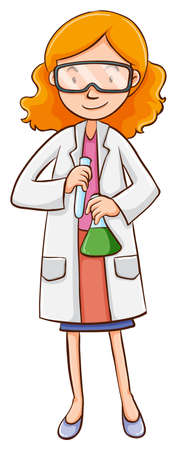 Female scientist holding flasks illustration Illustration
