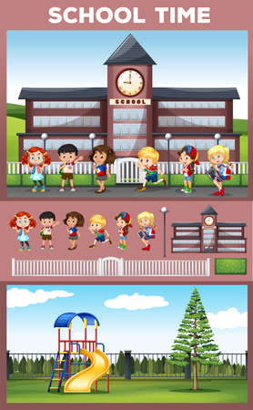 small group of objects: Students being happy at school ground illustration
