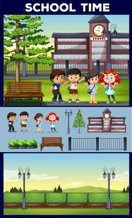 campus: School theme with students and campus illustration Illustration