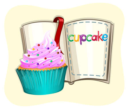 frosting: Cupcake with frosting and a book illustration