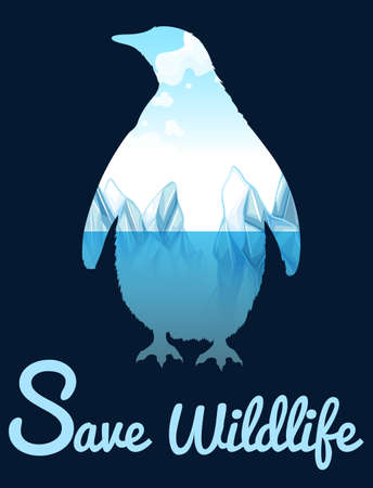 wildlife: Save wildlife theme with penquin illustration