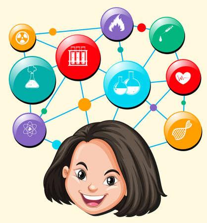 ethnicity happy: Science symbols and girl head illustration Illustration