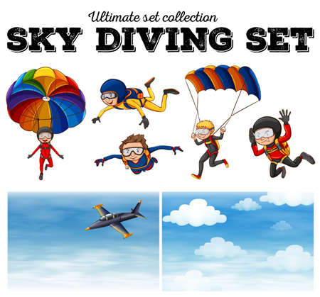 skies: People doing sky diving  illustration