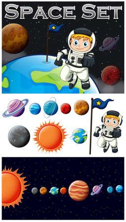solar system: Astronaunt and solar system illustration
