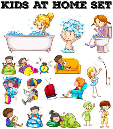 people watching tv: Children doing different activities illustration