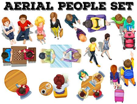 Mensen uit bovenaanzicht illustratie