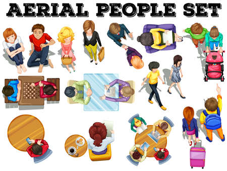 illustration people: People from top view illustration