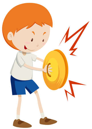cymbals: Little boy playing cymbals illustration