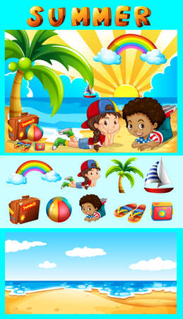 kids background: Summer set with children at sea illustration