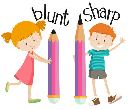 oppos: Opposite adjectives with blunt and sharp illustration