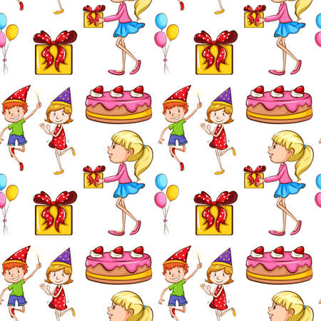 children party: Seamless children and  party illustration