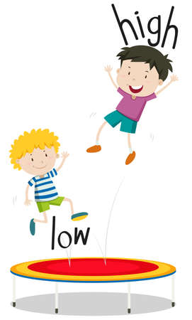 Two boys jumping on trampoline low and high illustration