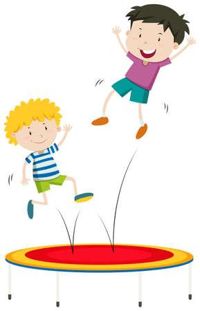 trampoline: Boys jumping on trampoline illustration Illustration