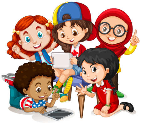 small group of objects: Children working in group illustration Illustration