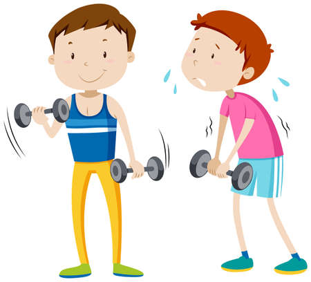 man working out: Strong man and weak man illustration Illustration