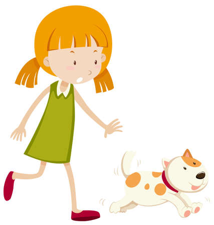 chasing: Little girl chasing a puppy illustration Illustration