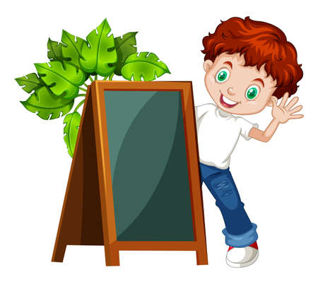 student boy: Little boy behind the chalkboard illustration Illustration