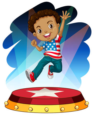 adolescent african american: American boy jumping up on stage illustration Illustration