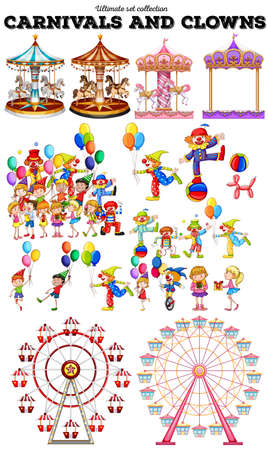 Carnivals objects and clowns illustration