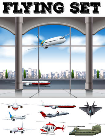 hovercraft: Airport scene with many airplanes illustration
