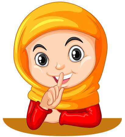 hush hush: Muslim girl gesturing quiet sign illustration Illustration