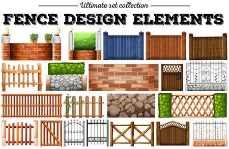 wooden fence: Many fence design elements illustration