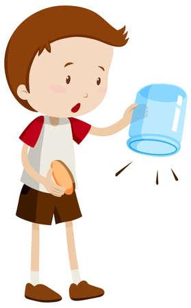 empty jar: Boy holding an empty jar illustration