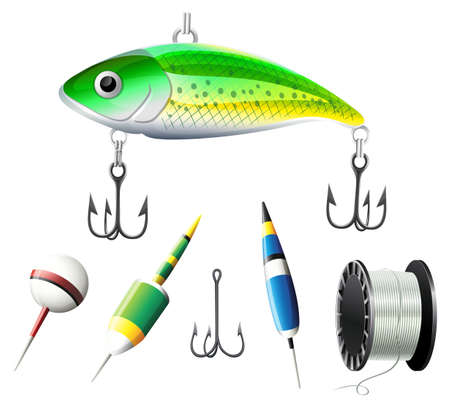 Different kind of fishing equipments illustration