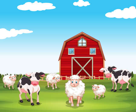 sheeps: Sheeps and cows on the farm illustration Illustration