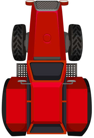 roof construction: Top view of red tractor illustration