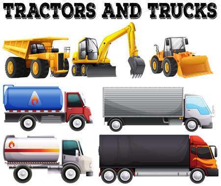 mining truck: Diferentes tipos de tractores y camiones ilustración Vectores