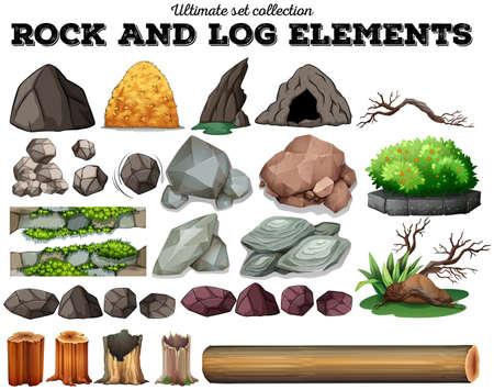 Rock and log elements illustration