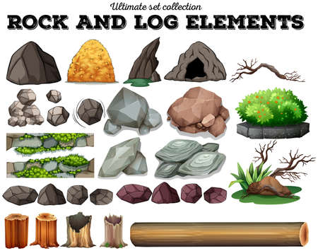 Rock and log elementi illustrazione Archivio Fotografico - 47029450