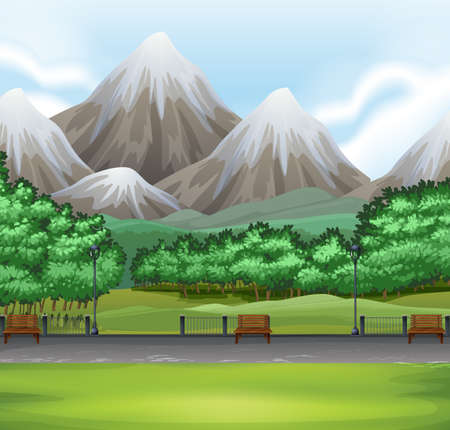 snow field: Nature scene with park and mountain illustration