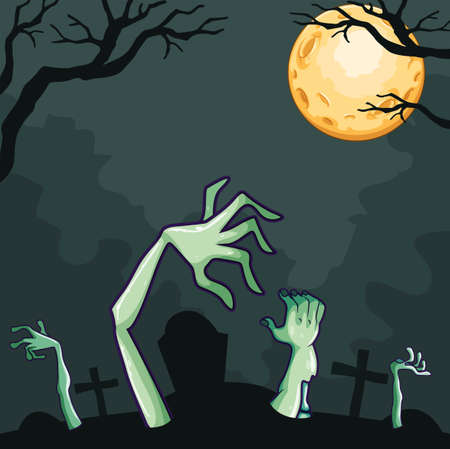 coming out: Zombies coming out of the grave at night illustration Illustration