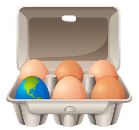 isolated ingredient: Earth in egg shape illustration Illustration