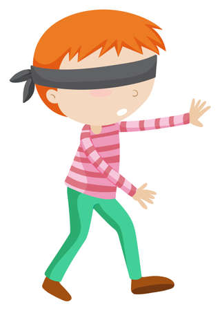 hide and seek: Boy blindfolded walking alone illustration