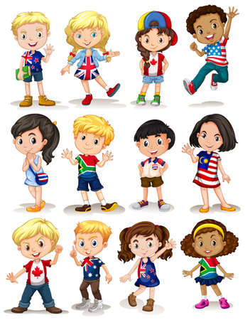 small group of object: Children from different countries illustration
