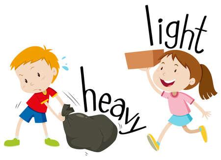niños: Adjetivos opuestos pesada y ligera ilustración