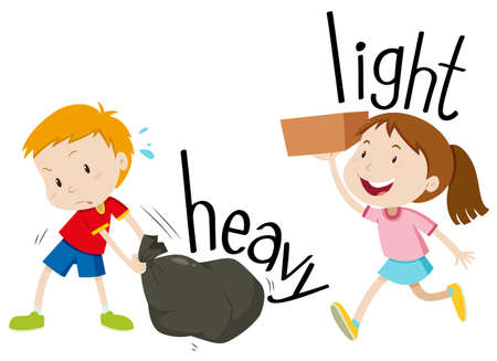 heavy: Opposite adjectives heavy and light illustration