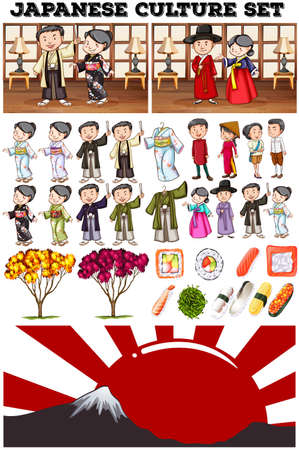 asian culture: Asian culture with people in costume illustration