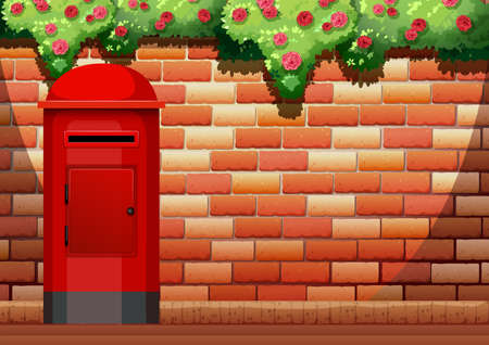 bakstenen muur: Brick wall and post box illustration