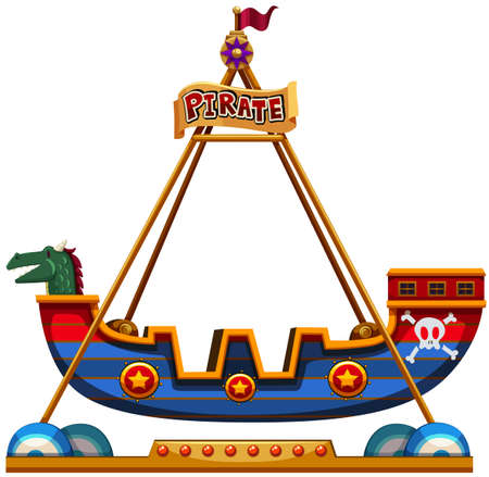carnival ride: Viking ride in carnival illustration