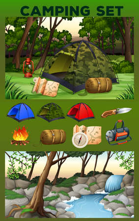 waterfall in forest: Camping equipment and field illustration