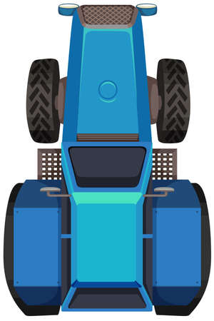 roof construction: Top view of blue tractor illustration